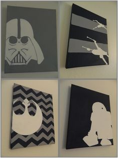 DIY Star Wars nursery wall pictures. Will coordinate lime green/navy blue.