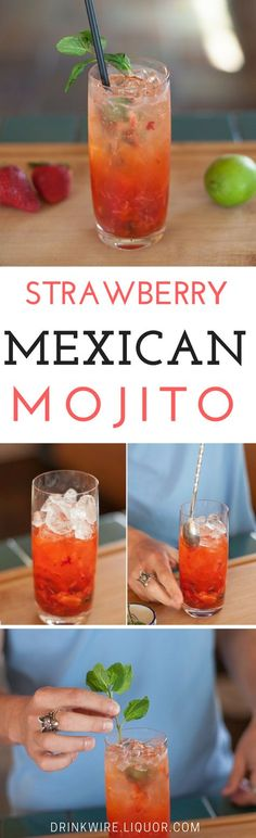 The Strawberry Mexican Mojito is Perfect for Valentine's Day! - Yummy Cocktails and Drinks - Mint Fun Cocktails, Summer Drinks, Cocktail Drinks, Spring Cocktails, Christmas Cocktails, Cocktail Recipes, Summer Fun, Alcoholic Lemonade Drinks, Mexican Alcoholic Drinks
