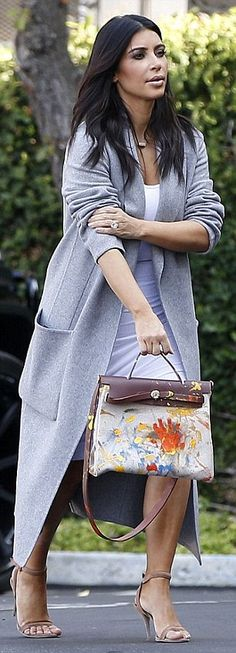 Similar style: Kim Kardashian, 34, showed off the bag her daughter North West painted for ...