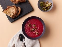 Roasted Beet and Garlic Prebiotic Soup with Crispy Leek Croutons