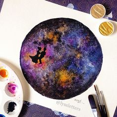 "Try this with chalk marbeling on black disks of construction paper.  Use toothbrush dipped in white tempera, rub across plastic needle point 3'X3"" SQUARE to flick tiny white speckles of starlight onto papers afterwards."