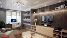 ensemble mural tv placage bois clair avec étagère murale longue et modules gris fixés au mur