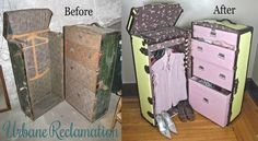Vintage steamer trunk turned into a modern wardrobe