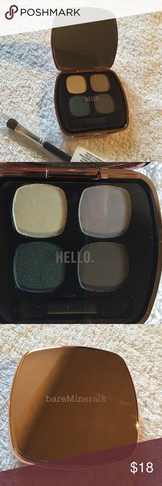 """NWT bareMinerals Ready Eyeshadow 4.0 + Brush Brand new, both with plastic covers! This eyeshadow compact is perfect for taking your look from day to night. This compact is the """"Exotic Escape"""" quad, with a cream, light and dark gray, and emerald color. Comes with a brand new bareMinerals tapered shadow brush. bareMinerals Makeup Eyeshadow"""