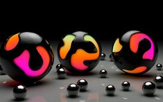 Balls, Colorful, 3D, Marbles