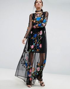 ASOS   ASOS PREMIUM Maxi Dress in Pretty Embroidered Mesh