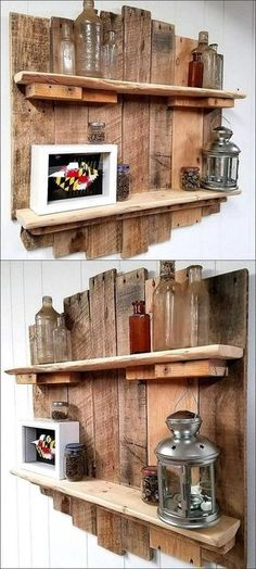 hier finden sie eine unserer ideen zum thema regal selber bauen aus holz und pal… here you will find one of our ideas on the subject of shelving your own building of wood and pallets, bottles, pictures and picture frames, a metal lamp Recycled Pallets, Wooden Pallets, Wooden Diy, Build Your Own Shelves, Pallet Wall Shelves, Bookshelf Ideas, Palette Diy, Hall Furniture, Rustic Furniture