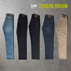 Dark to light, day to night. Lee Extreme Motion jeans come in every shade your day calls for. Lee Denim, Lee Jeans, Jean Top, Casual Outfits, Casual Wear, Stylish Men, Denim Pants, Product Photography, Stretches