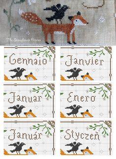 The Snowflower Diaries: free pattern календарь Cross Stitching, Cross Stitch Embroidery, Cross Stitch Patterns, Fox Crafts, Blackbird Designs, Cross Stitch Freebies, Cross Stitch Needles, Cross Stitch Animals, Le Point