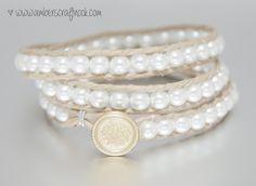 white triple wrap bracelet - Victoria Emerson inspired