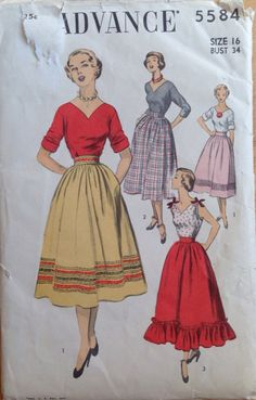 Vintage 1950s Advance 5584 sewing pattern skirt and by clarysage
