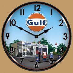 Horloge Murale Lumineuse Rétro-Éclairé Garage Gulf
