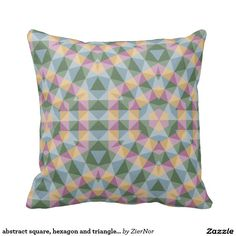 abstract square, hexagon and triangle pattern pillows
