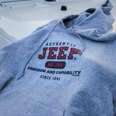 """Gray Jeep Sweatshirt The popular Authentic Sweatshirt. Features the text """"Freedom and Capability Since blend. Lazy Outfits, Spring Outfits, Trendy Outfits, Winter Outfits, Fashion Outfits, Work Outfits, Stylish Outfits, Sweatshirt Outfit, Jeep Sweatshirt"""