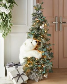 Ditz Designs By The Hen House Crystal White Tree with Polar Bears - Bergdorf Goodman Live Christmas Trees, Beautiful Christmas Trees, Christmas Tree Themes, Christmas Tree Decorations, Christmas Home, Christmas Holidays, Merry Christmas, Christmas Ornaments, Christmas Mantles