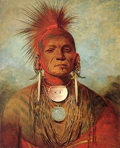 "See-Non-Ty-A, an Iowa medicine man. Impressive portraits of native Americans in full regalia fostered the ""noble-savage"" notion in the eastern United States and Europe. George Catlin, 1844-45, oil."