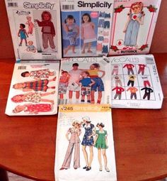 LOT of 7 Children's Vintage Sewing Patterns, 1970s-2004, sizes 1/2-14