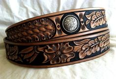 Hand-tooled western leather belts