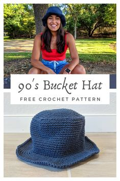 Crochet your own version of the iconic bucket hat using this free pattern. hat for women Bucket Hat - Free Crochet Pattern Crochet Pattern Free, Cute Crochet, Vintage Crochet, Crochet Crafts, Crochet Baby, Crochet Patterns, Diy Crochet Clothes, Knitting Patterns, Crochet Summer Hats