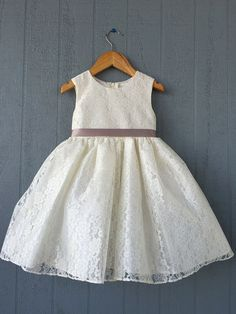 Ivory Lace Dress With Removable Colored Satin by KidsDreamDresses