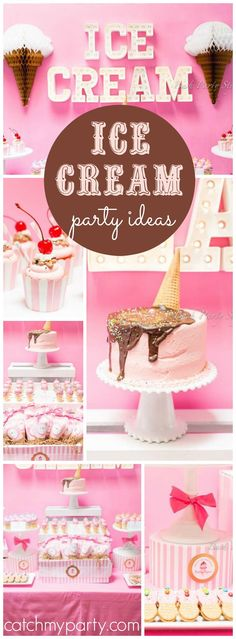 So many great details in this pink ice cream party! See more party ideas at CatchMyParty.com!