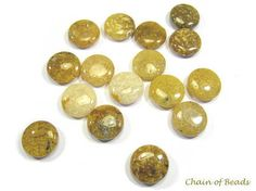 Yellow Agate Round Coin Smooth Through Drilled  by chainofbeads