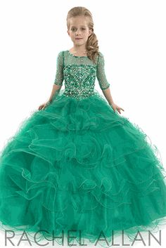 Love this girls pageant dresses for upcoming holiday pageants! Emerald green, love!
