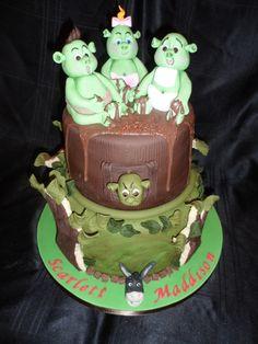 Handmade fondant Shrek babies cake with cookie trees for twin girls :)