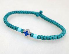 Tiny Teal Cotton Prayer Rope Bracelet with beads by BYZANTINO