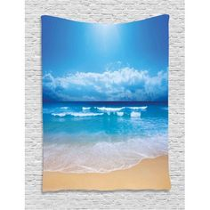 Beach Tapestry, Seascape Theme Landscape of the Beach and the Cloudy Sky in Summer Digital Print, Wall Hanging for Bedroom Living Room Dorm Decor, 60W X 80L Inches, Sand Brown Blue, by Ambesonne #beachthemedweddings Dorm Decorations, Beach Themes, Dorm Room, Living Room Decor, Digital Prints, Tapestry, Themed Weddings, Sky, Landscape