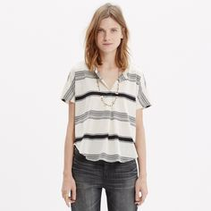 Madewell striped split-neck tee Super cute, comfy and versatile striped top from Madewell with split-neck and pleating details. Perfect cotton tee for summer, size small. Madewell Tops Tees - Short Sleeve