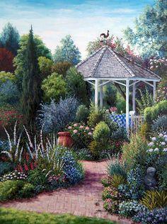 Cuadros Modernos Pinturas y Dibujos : Cuadros de casas con jardines, Barbara Rosbe Felisky
