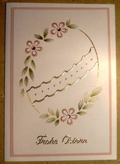 The Latest Trend in Embroidery – Embroidery on Paper - Embroidery Patterns Embroidery Cards, Learn Embroidery, Embroidery Stitches, Embroidery Patterns, Stitching On Paper, Easter Coloring Pages, Simply Stamps, Iris Folding, Card Patterns