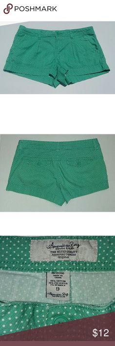 "American Rag Mint Dot Shorts 9*Make Offer* EUC Super Cute Junior polka dot shorts. Waist 16"" Length 12"" Inseam 2"". American Rag Shorts"
