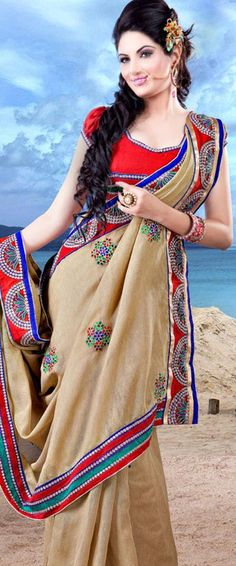 $ 58.38 Brown Art Silk Saree 21470 With Unstitched Blouse