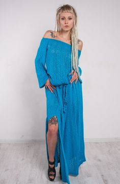 This+tremendous+crochet+dress,maxi+turquoise+knitted+dress+is+made+of+viscose+yarn.+The+lacy+structure+of+this+crochet+maxi+dress+is+very+refined++and+helps+you+to+look++mod+!This+comfortable+crochet+dress,+maxi+turquoise+slits++dress+can+be+worn+on+any+event.+The+loose+silhuette+of+this+turquois...