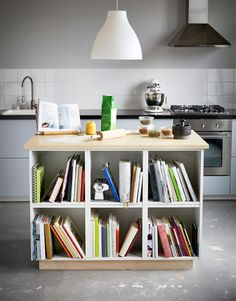 Two images of a kitchen island perfect for baking on and storing your cookbooks and baking tools.