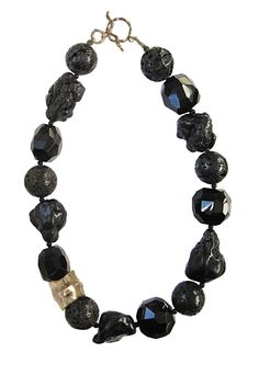 Onyx, lava rock and black agate with bronze Barrel bead- 18 inches