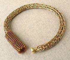 viking knit  | Gold Tones Woven Wire Viking Knit Bracelet by MarigoldJewelry