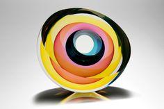 """Echoes of Light (V) - 2015"" - Blown, Cut & Polished Art-Glass Sculpture by Tim Rawlinson   D's:12cm x 26cm x 26cm avail 'LondonGlassBlowing'♥≻★≺♥"