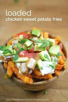 Loaded Chicken Sweet Potato Fries #FarmToFlavorRecipes (AD)