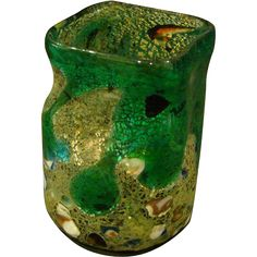 Murano Venetian Italian art glass grotesque vase inclusions lava from finerchoice on Ruby Lane