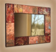 Copper Painted Metal Mirror - Oh to give this a try with Crescent Bronze Copper and Antique Copper Copper Mirror, Metal Mirror, Mirror Mirror, Mirrors, Copper Paint, Metallic Paint, Painted Chest, Painted Metal, Mirror Over Fireplace