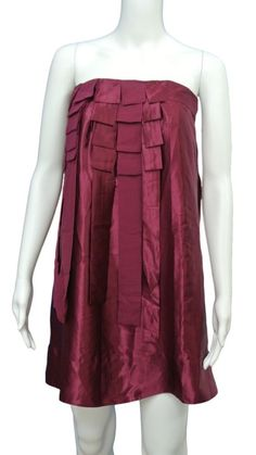 FRENCH CONNECTION NWT Tudor Silk Pleated WINE Dress Party Cocktail 0 / 2 #FrenchConnection #TieredPleatedStrapless #Cocktail