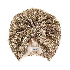 malaak gold sequin turban. haute.