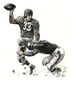 Sammy Baugh of the Washington Redskins. 1960 illustration by Robert Riger.