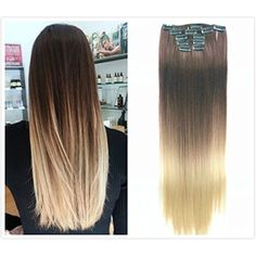 22 Inches Full Head Ombre Dip Dyed Straight Clip-in Hair Extensions 6pcs Pack (Col. Dark brown to sandy blonde) DL -- Read more reviews of the product by visiting the link on the image. (This is an affiliate link and I receive a commission for the sales) #HairCare