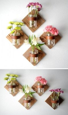 DIY Rustic Mason Jar Sconce - Add some flowers by making a DIY sconce with mason jars. Mur Diy, Diy Simple, Mason Jar Sconce, Hanging Mason Jars, Jar Lamp, Diy Hanging, Diy Wand, Rustic Mason Jars, Rustic Vases