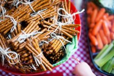 Adorable Farm Party Food....pretzel hay stacks wrapped with twine