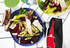 Rote-Rüben-Salat mit Birnen und Käse Avocado Toast, Tacos, Mexican, Breakfast, Ethnic Recipes, Food, Salads, Pears, Easy Meals